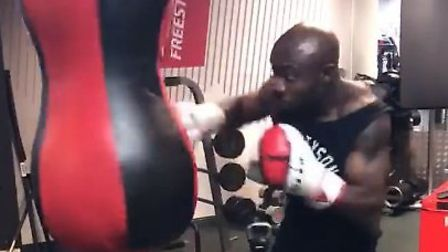 Still image from footage of Ade Akere boxing. Photo: Facebook