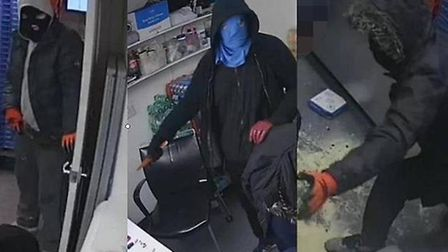 Police have released CCTV and images of four suspects involved in a robbery of a Romford pizza shop
