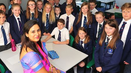 Two Teachers from India have come to teach students from Pakefield High School. Bhawna Gupta with ye