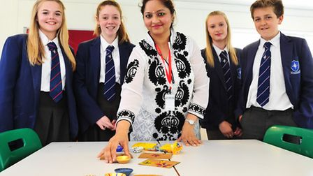 Harpreet Kaur with year 9 Students. Pictures: Nick Butcher