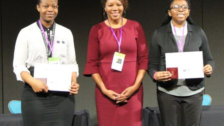 Winners Melanie Nneka Onoyo and Osauwese Omoragbon with Kim Dubois, cultural affairs officer at the