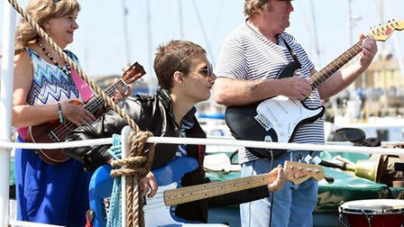 Royal Philharmonic musicians and guests perform small celebration of the sea show on board the Minca