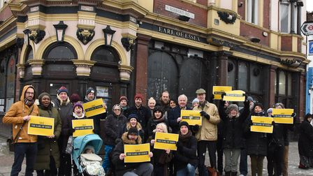 MP StephenTimms with campaigners outside the pub in February. Picture: Ken Mears