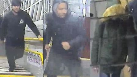 The British Transport Police would like to speak to these three men in connection to a violent robbe