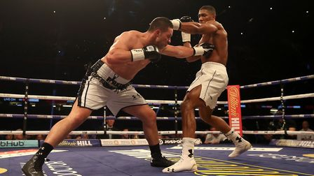 Anthony Joshua (right) in action against Joseph Parker in their WBA, IBF, WBO and IBO Heavyweight Ch