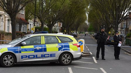 Police at the scene of the stabbing on Chestnut Avenue Forest Gate. Pic: Ken Mears