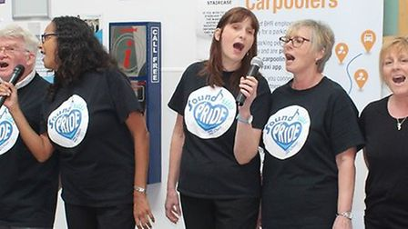BHURT's Sound of Pride choir performing 'Proud' at Queen's Hospital on April 16. Photo: BHRUT