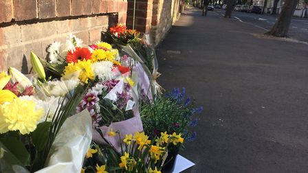 Flowers left in Chestnut Avenue, Forest Gate, following the fatal stabbing of university student Sam