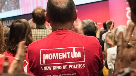 A Momentum supporter at the Labour Party conference in Brighton. Picture date: Wednesday September 2