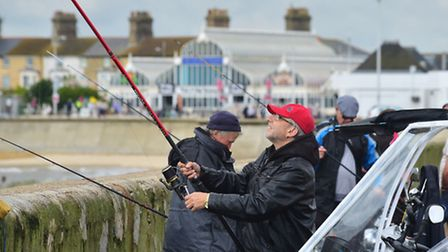 The South Pier has re-opened as fishermen celebrate the good news. Picture: Nick Butcher