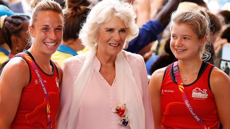 Susannah Townsend (left) and Sophie Bray (right), with the Duchess of Cornwall, at the Commonwealth