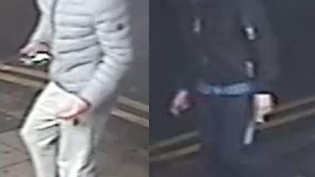 Detectives want to trace these two young men after a serious assault in West Ham's Memorial Park. Pi