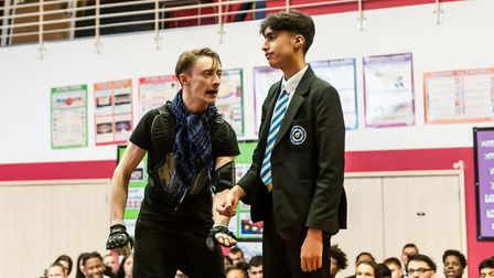 Actors from the BoxClever Theatre company put modern twists on the Shakespeare play. Picture: RDA