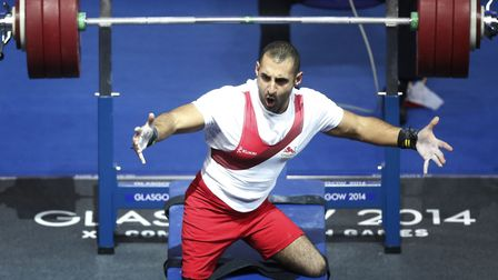 England's Ali Jawad during the lightweight power lifting at the 2014 Commonwealth Games in Glasgow (