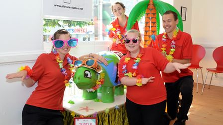 Lowestoft Turtle Trail - staff at Picture Studios with their turtle