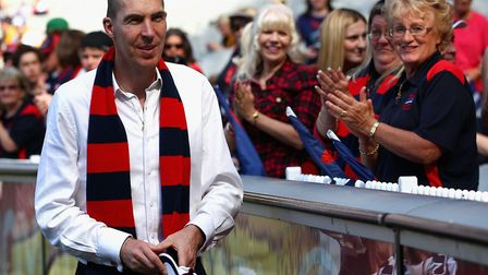 Jim Stynes meets Melbourne fans before the round four AFL match between the Richmond Tigers and the