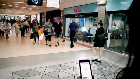 Customers can use the Smart Rewards app on the Pavegen walkway in the Mercury Mall to find out how m