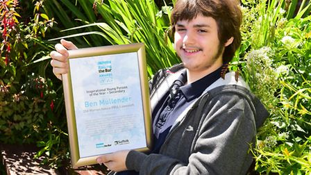 Ben Mullender wins Young Person of the Year in the Raising the Bar awards. Pictured at Old Warren Ho
