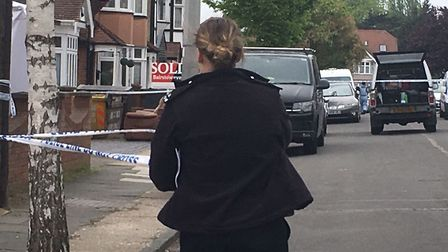 Police at the scene in Ashmour Gardens, Romford. Photo: Archant