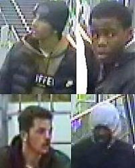 CCTV stills of the four males with whom police wish to speak. Picture: Met Police