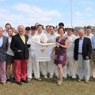 Tony Seago and Samantha Major with Southwold cricket team