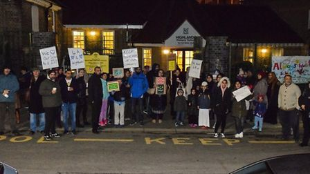Parents protest outside Highlands Primary School in February fearing that it may become an academy.