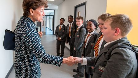 Stephanie Moore meets Bobby Moore Academy pupils Picture: DRET