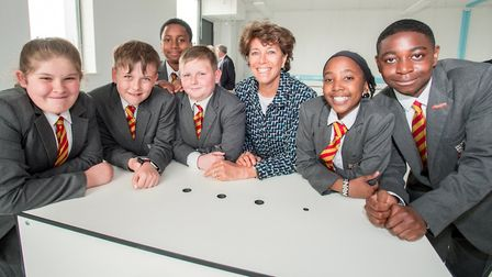 Stephanie Moore meets Bobby Moore Academy pupils Ellamay Gold, Jake Luxford, Marley Bryden-Campbell,