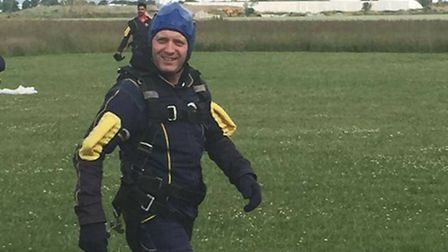 Paul Rains completes his skydive.