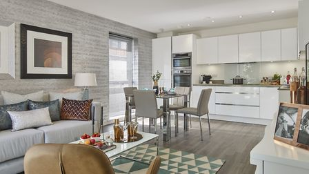 New homes at Elizabeth Gate and Sapphire Gate in Kings Park, kitchen and living area.