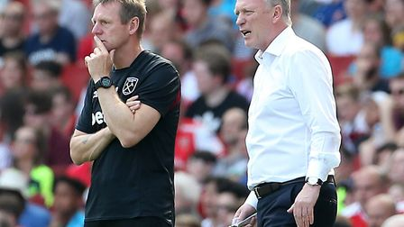 West Ham United manager David Moyes (right) and assistant Stuart Pearce look on (pic Mark Kerton/PA)