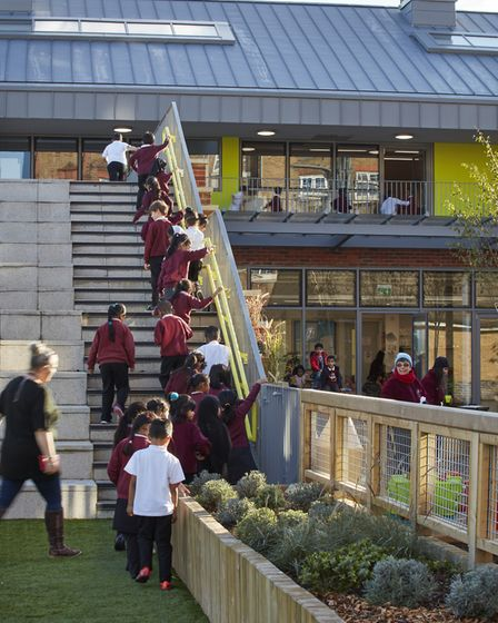 Pupils lining up outside the new nursery building. Picture: Dennis Gilbert/VIEW