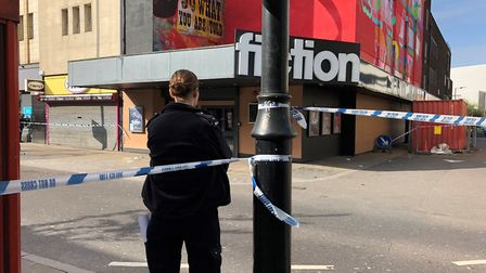 Police officer in South Street, Romford after a man was stabbed. Photo: N Wassell.