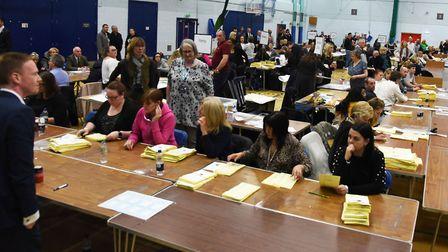The results being announced at the Havering Council election count at the Hornchurch Leisure Centre