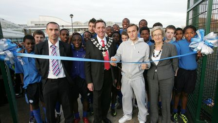 Sir Robin Wales and West Ham player Mark Noble opening an astro turf in Newham. Pic: Steve Poston.