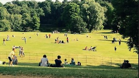 People enjoy the sun on bank holiday weekend near Kenwood House. Picture: City of london corporation