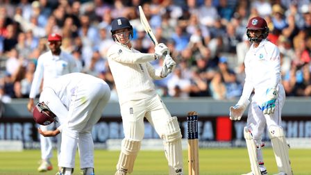England's Tom Westley hits four runs against the West Indies at Lord's (pic Adam Davy/PA)