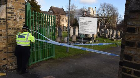 Police seal off the Buckingham Road cemetery during the search for Seyed Khan. Picture: KEN MEARS