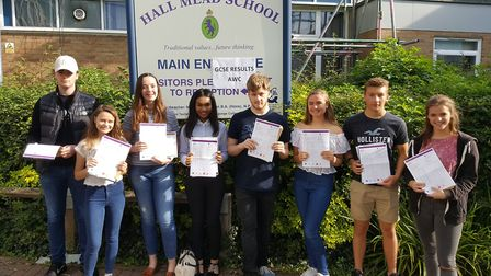 Year 11 students from Hall Mead School in Cranham collecting their results last year. Photo: Hall Me