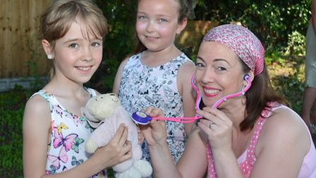 Anya MacFarlane, Izzy Smith with Teddy First Aider Catherine Mullender- Scott.
