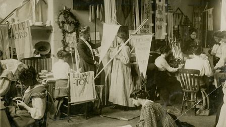 Making banners for a women's Social and Political (WSPU) rally in 1910. Picture: LSE Library