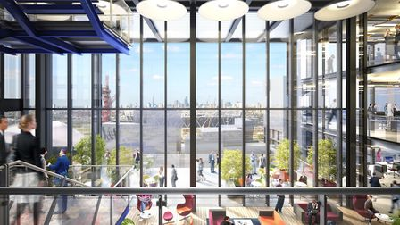 A CGI image of an office interior, which overlooks the Olympic Park. Picture: IQL