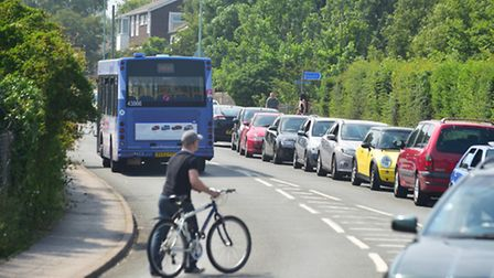 Traffic builds up on the busy Lowestoft road.