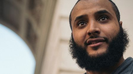 Mohammed Hegab at the freedom for speech rally in Whitehall. Photo: Thomas Martin