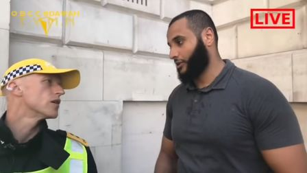Mohammed Hegab at the event in Whitehall, London. Photo: YouTube/Mohammed Hijab