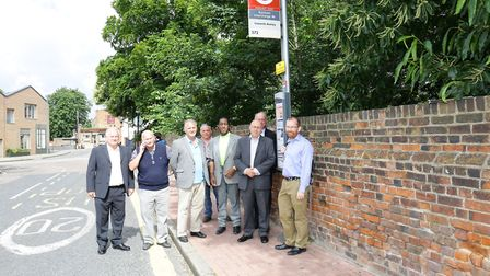 Council and TFL officers at the old bus stop.
