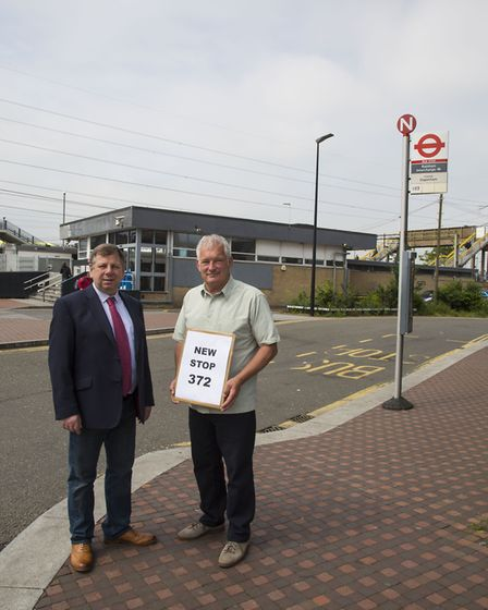 Cllr David Durant and Cllr Jeffery Tucker outside Rainham train station, who have been campaigning t