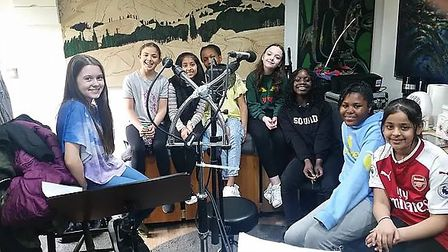 Children from Glade Primary School recording 'For Every Child' in the studio. Photo: Kevin Crouch
