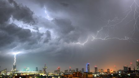 Pictures of the storm on Sunday night, taken in Bow. Picture: Phil Verney