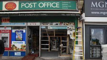 Damage done to a Post Office frontage in Newbury Park after a speeding car crashed on the A12 near t